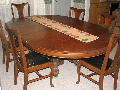 Antique Dining Table With Leaves And Chairs Solid Oak Early 1900 S