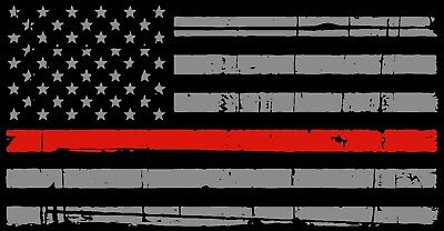 """A Thin Red Line American Flag Distressed Fire Fighter Decal Sticker 4"""" x 2"""""""