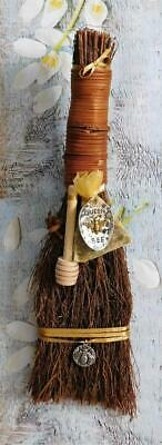 Queen Bee Broom Besom Handcrafted w/Charms, Honey Dipper & Herb Sachet Wicca
