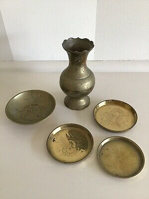 Vintage Collection Solid Brass Etched Bowl/vase/coasters - Made In China.