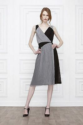 3ad773eee882 NEW Anthropologie Leifsdottir Skyscraper Gray Black Pleated Maxi Dress Sz 6  *