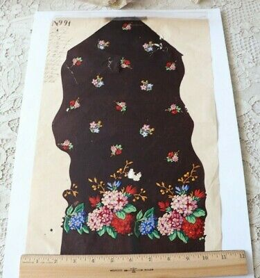 "Antique 19thC French Textile Design Hand Painted Floral W/Border~L-17"" X W-11"""