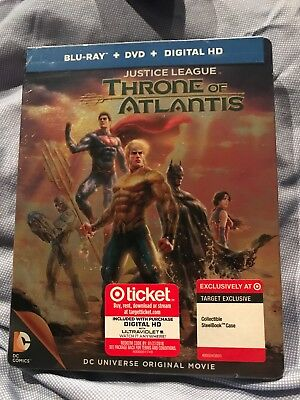 DC JUSTICE LEAGUE THRONE OF ATLANTIS BluRay+DVD Target Limited Edition STEELBOOK