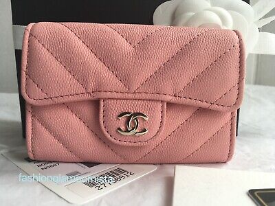 cca60630cea6 Auth BNIB Chanel Pink Matte Caviar Chevron Snap Card Holder Wallet Bag