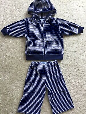 0a75b2b74 LANDS END BABY Boy Blue Striped Velour Outfit 3-6 Months - $5.00 ...