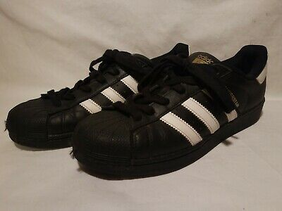 buy popular e5202 e2aac Adidas SUPERSTAR Black Leather Lace Up Shell Toe Low Top Shoes Men s Size 7