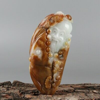 Chinese Exquisite Hand-carved Old man Carving jadeite jade Pendant