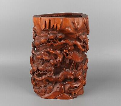 Chinese Exquisite Hand-carved Crane pine Carving bamboo Brush Pot