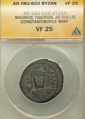 Byzantine Empire Maurice Tiberius Follis ANACS VF 25 Ancient Coin