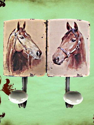 Wardrobe Hook Shield Iron 2er Horses Türgarderoben Hook Vintage Aesthetics