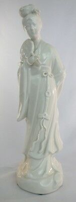 Vintage White Ceramic Figurine Of An Oriental Woman Holding A Fan 10 Inches Tall