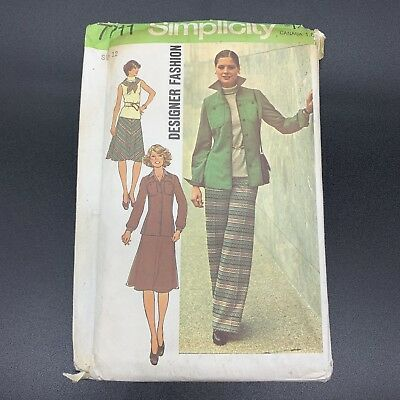 Simplicity Vintage Sewing Pattern #7711 Misses Jacket Top Skirt Pants Size 12