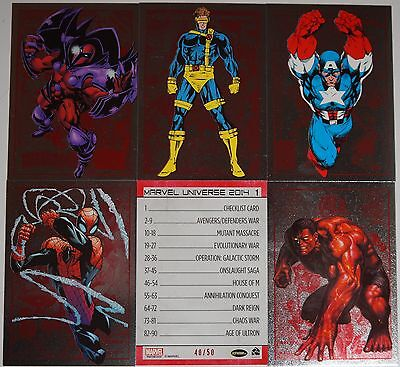 2014 Marvel Universe 2: Full Ruby Parallel Set #1-90 (Serial Numbered to 50)