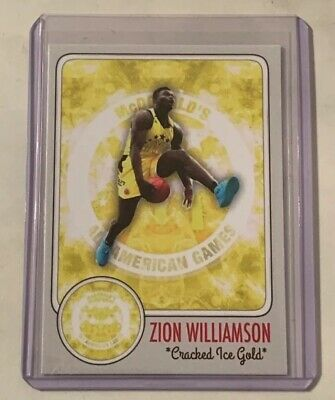 Zion Williamson Cracked Ice Gold McDonalds All American Games Yellow Jersey ACEO