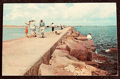 TEXAS People Fishing on Gulf Coast~Sea Walls Built of Texas Red Granite~Jetties