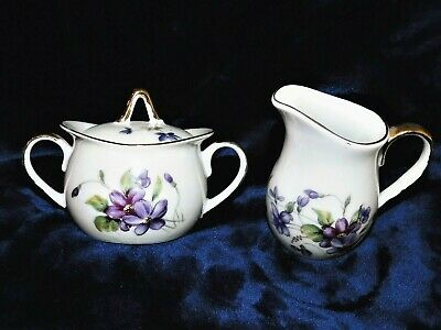 Vintage Royal Sealy China Creamer and Sugar Set  Purple Violets Double Sided
