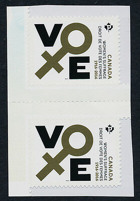 Canada 2901 gutter pair MNH 100 years of Women's Suffrage