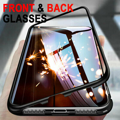 Magnetic Metal Tempered Front Back Glass Case Cover For iphone X XR XS Max 8 7 6