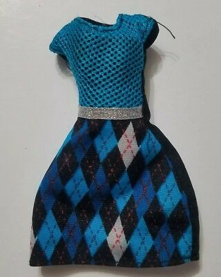 Monster High Doll Clothing Basic Frankie Stein Blue & Silver Argyle Dress