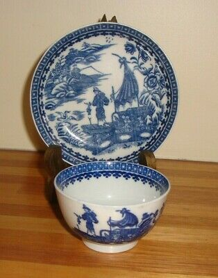 Caughley Cup And Saucer Fisherman Pattern 1760  1790