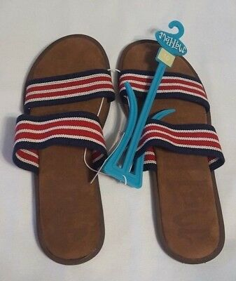 731b1e264dd2 NWT Red White   Blue Womens Mad Love Tahlia Slide Sandals Open Toe Shoes  Size 10