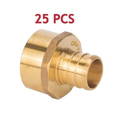"25 PCS PEX 3/4"" x 3/4"" Female NPT Thread Adapter Crimp Fitting (Lead Free)"