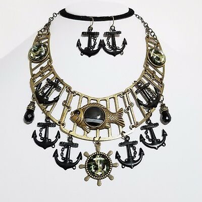 Fish Anchors Wheel Bib Necklace Earrings Gemstone Agate One of a Kind