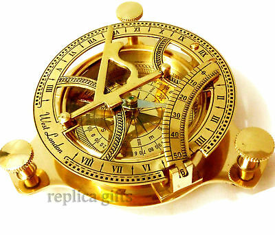 "4"" Brass Sundail Compass Antique Vintage Style Nautical Maritime Hiking @"