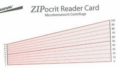 Hematocrit Reader Card Laminated Chart PCV Values from Hematocrit Tubes Pets