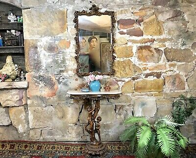 Unique Antique French Louis Style Figural Side/Hall Table +Mirror~Console