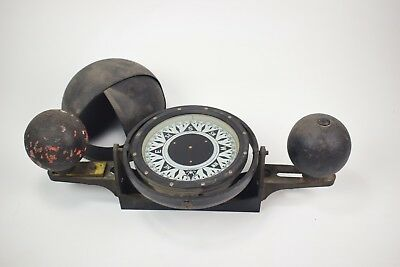 "Vintage Dirigo 6"" Ship Compass with Gimbal and Compensating Spheres"