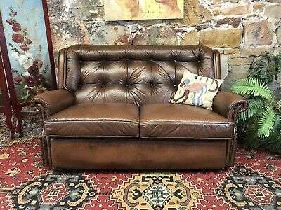 Vintage Chesterfield Leather MORAN BARCELONA 2 Seater Sofa-Lounge-Sofa Chair
