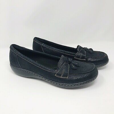 e6cafbc2ca4 Clarks Womens Ashland Bubble Loafers Cushion Shoes Leather Tassle Black Sz  11 W