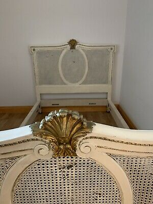 White French Bed Bergere Cane & Wood Princess Stylish Country Antique Heals Base