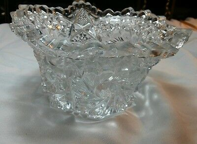 Vintage Brilliant Clear Cut Glass Candy Mint Nut Dish Ruffle Edges Flower Design