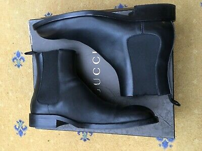 2e09ee34be1 GUCCI MENS SHOES Black Leather Chelsea Boots UK 10.5 US 11.5 EU 44.5 ...