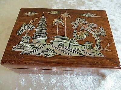 Antique/ Vintage Shell/ Pearl Inlaid Oriental Small Wood Box