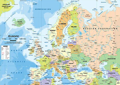 61155 NEW POLITICAL MAP OF EUROPE Decor Wall Poster Print AU