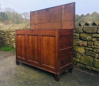 Antique 18th Century Wooden Panelled Chest Lovely Piece Of Furniture - Treated ✅
