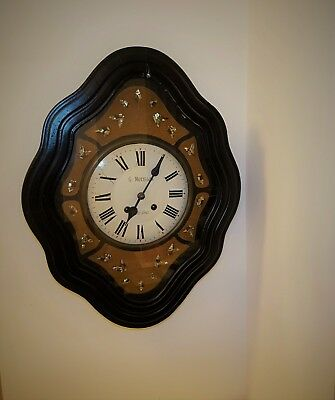A French Baker's Wall Clock with Mother-of-Pearl Inlay, late 19th Century