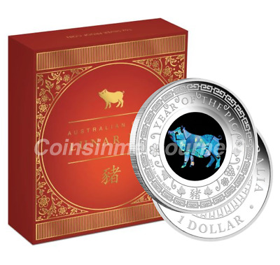 2019 Opal Lunar Year of the Pig 1oz Silver Proof Coin Australian