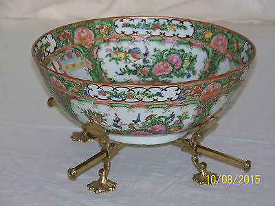 Chinese Rose Medallion Qing Dy c19th Century Monumental Antique CenterPiece Bowl