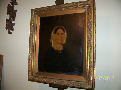 Early American School c18th Century Original Oil On Canvas Gold Gilded Frame