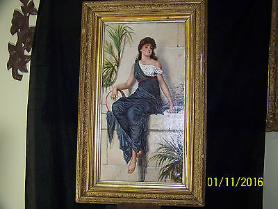 Orientalist Antique c19th Century Original Oil On Canvas Portrait Painting
