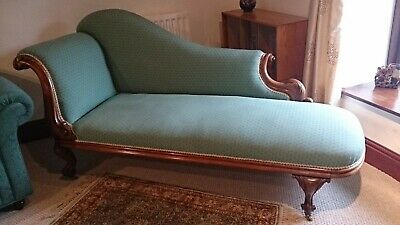 genuine antique chaise, carved cabriole legs, modern upholstery