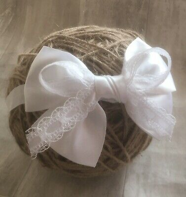 Baby Girl Pure White Christening Headband Baptism Wedding Bow Hairband