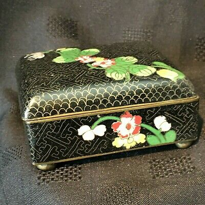 Chinese Cloisonné Hinged Box Ball Feet Trinket Collectable