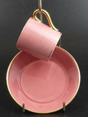 Pink and Gold Lusterware Coffee Can and Saucer