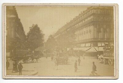 Boulevard des Capucines Paris 1887 Antique Cabinet Card Photograph Animated 496M