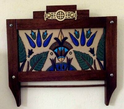 Arts & Crafts Tile w/ Handcrafted Mission Frame with Antique Brass